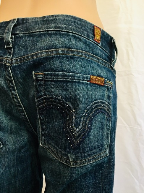 7 For All Mankind Rhinestone Skinny Jeans-Dark Rinse Image 7