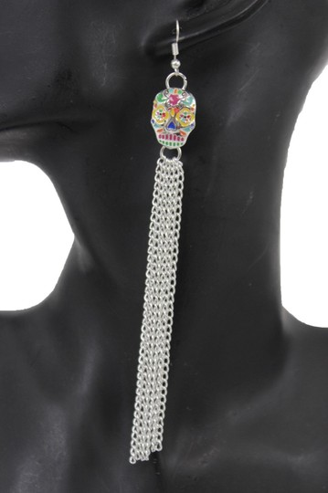 Alwaystyle4you Women Long Silver Metal Chains Fashion Candy Skull Day Of Dead skull Image 1