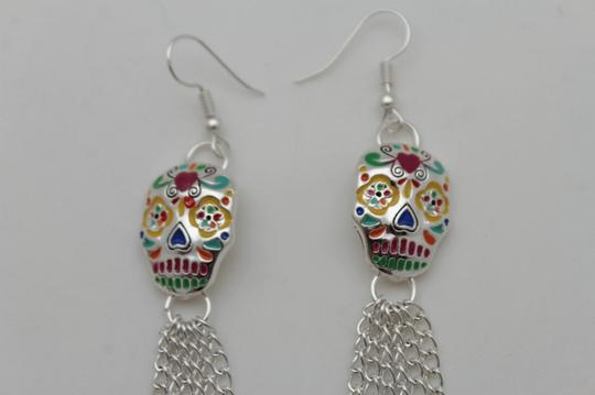 Alwaystyle4you Women Long Silver Metal Chains Fashion Candy Skull Day Of Dead skull Image 2