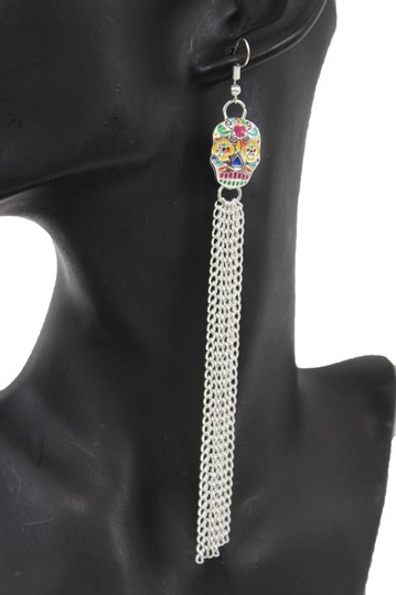Alwaystyle4you Women Long Silver Metal Chains Fashion Candy Skull Day Of Dead skull Image 3