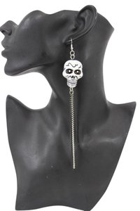 Alwaystyle4you Women Silver Chains Fashion White Skeleton Pirate Skull Earrings