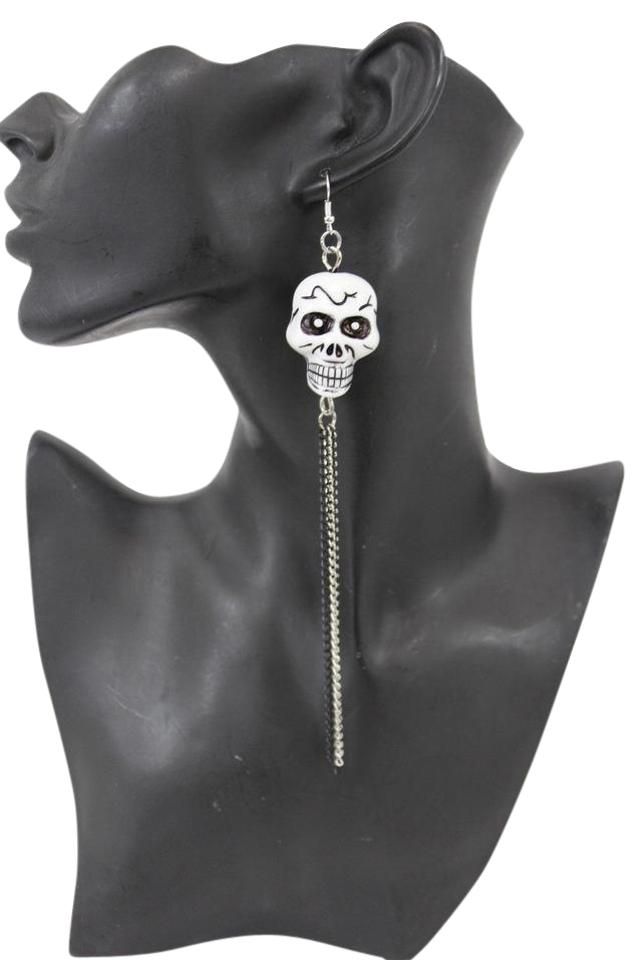 Silver Women Chains Fashion White Skeleton Pirate Skull Earrings 30 Off Retail