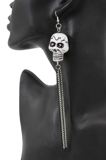 Alwaystyle4you Women Silver Chains Fashion White Skeleton Pirate Skull Earrings Image 3
