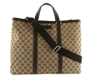 Gucci Canvas Monogram Leather Silver Hardware Tote in Brown