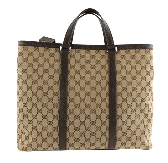 Gucci Canvas Monogram Leather Silver Hardware Tote in Brown Image 1