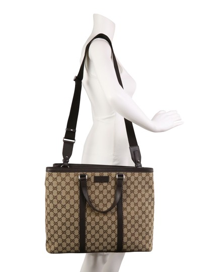 Gucci Canvas Monogram Leather Silver Hardware Tote in Brown Image 10