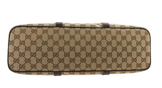 Gucci Canvas Monogram Leather Silver Hardware Tote in Brown Image 2