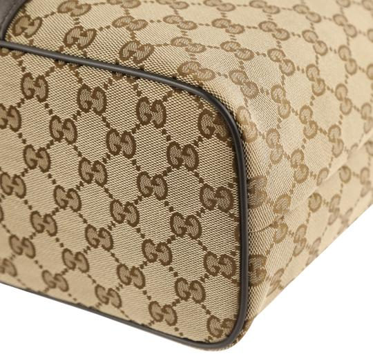 Gucci Canvas Monogram Leather Silver Hardware Tote in Brown Image 3