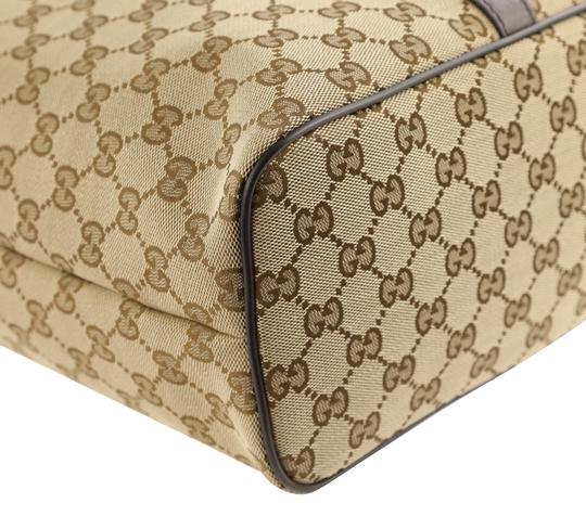 Gucci Canvas Monogram Leather Silver Hardware Tote in Brown Image 4