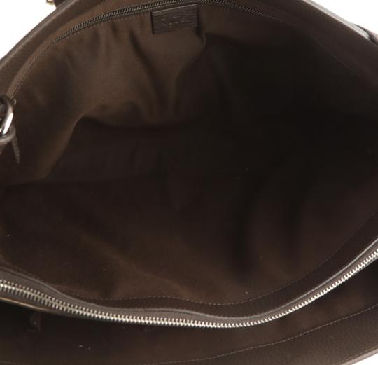 Gucci Canvas Monogram Leather Silver Hardware Tote in Brown Image 5