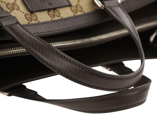 Gucci Canvas Monogram Leather Silver Hardware Tote in Brown Image 9