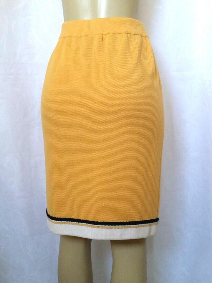 e41e4d3dd7 St. John Yellow Collection Pencil Straight White Trim Textured Skirt ...