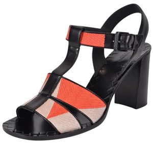 Bottega Veneta Block Heel Orange Beige Sandals