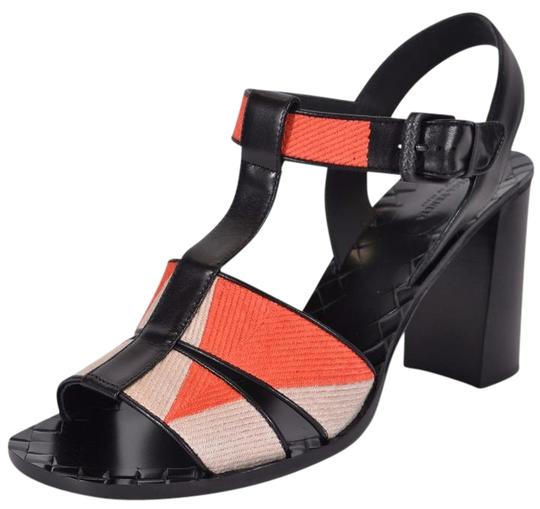 Bottega Veneta Block Heel Orange Beige Sandals Image 0