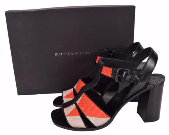 Bottega Veneta Block Heel Orange Beige Sandals Image 4