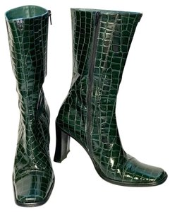 Cesare Paciotti Croc Embossed Leather Thigh High Green Boots