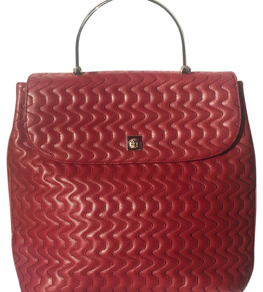 a2d56c27b8 Versace Quilted Gianni with Metal Handle Cranberry Red Leather Hobo ...