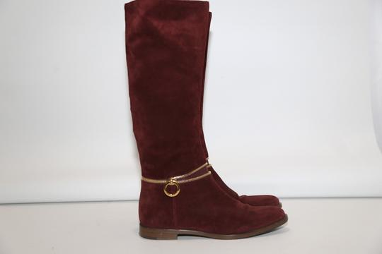 SERGIO ROSSI Knee High Burgundy Boots Image 1