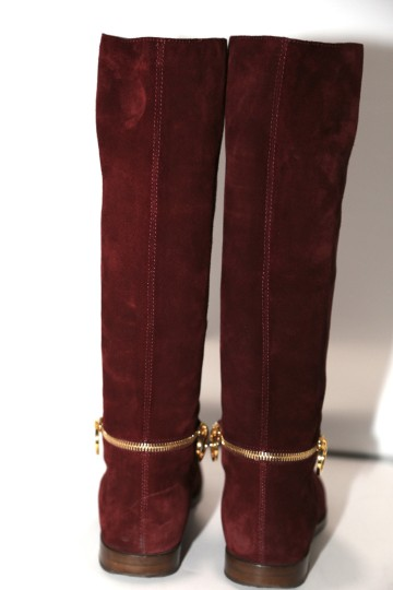 SERGIO ROSSI Knee High Burgundy Boots Image 10