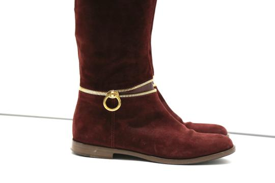 SERGIO ROSSI Knee High Burgundy Boots Image 2