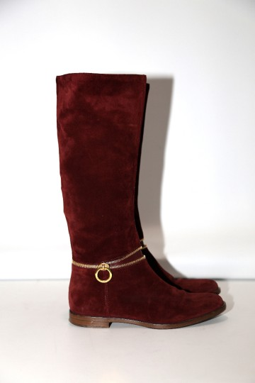 SERGIO ROSSI Knee High Burgundy Boots Image 3