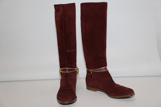 SERGIO ROSSI Knee High Burgundy Boots Image 6