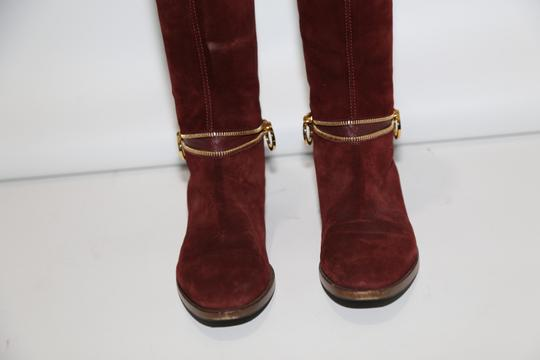 SERGIO ROSSI Knee High Burgundy Boots Image 7
