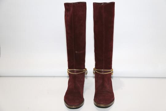 SERGIO ROSSI Knee High Burgundy Boots Image 8