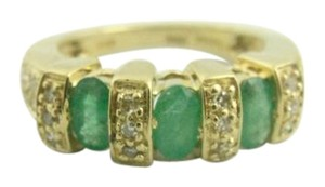 Other Antique Three Stone Emerald and Diamond Ring- 14k Yellow Gold