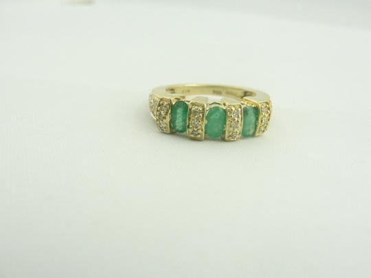 Other Antique Three Stone Emerald and Diamond Ring- 14k Yellow Gold Image 1