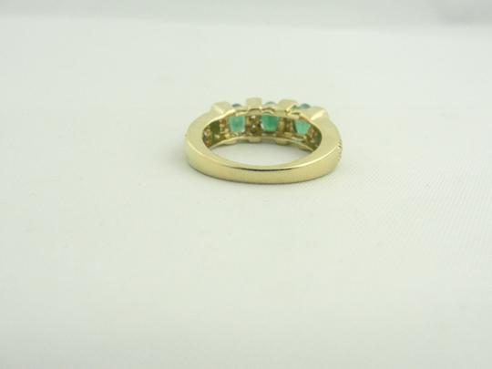 Other Antique Three Stone Emerald and Diamond Ring- 14k Yellow Gold Image 2