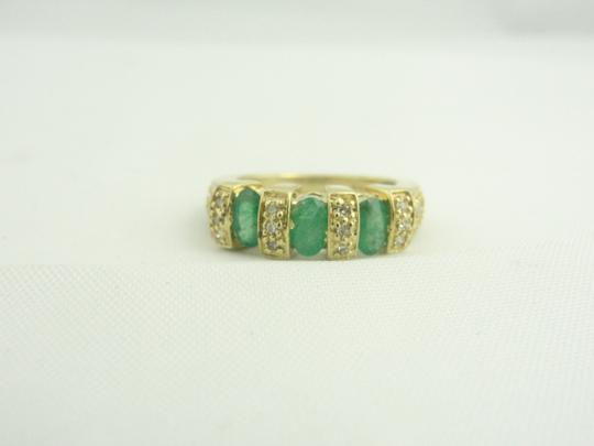 Other Antique Three Stone Emerald and Diamond Ring- 14k Yellow Gold Image 3