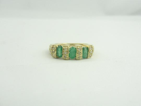 Other Antique Three Stone Emerald and Diamond Ring- 14k Yellow Gold Image 4