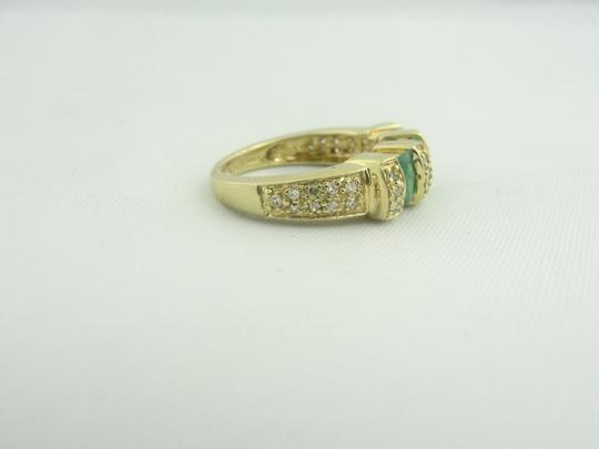 Other Antique Three Stone Emerald and Diamond Ring- 14k Yellow Gold Image 5
