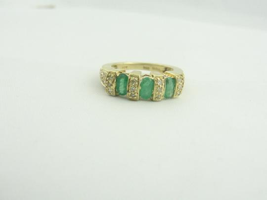 Other Antique Three Stone Emerald and Diamond Ring- 14k Yellow Gold Image 7