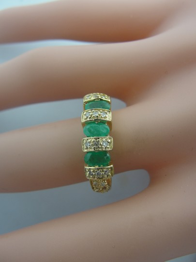 Other Antique Three Stone Emerald and Diamond Ring- 14k Yellow Gold Image 8
