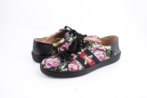 Gucci * Ace Floral Jacquard Leather Sneakers Shoes