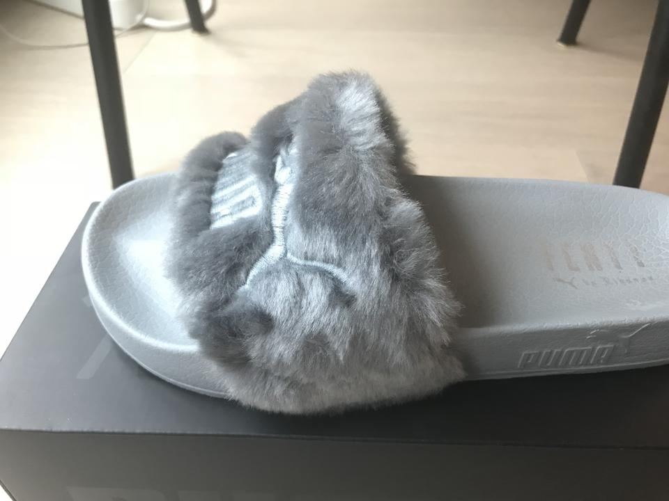 2b83613d8a1a FENTY PUMA by Rihanna Grey Fur Women s Slide Sandals Size US 5.5 ...