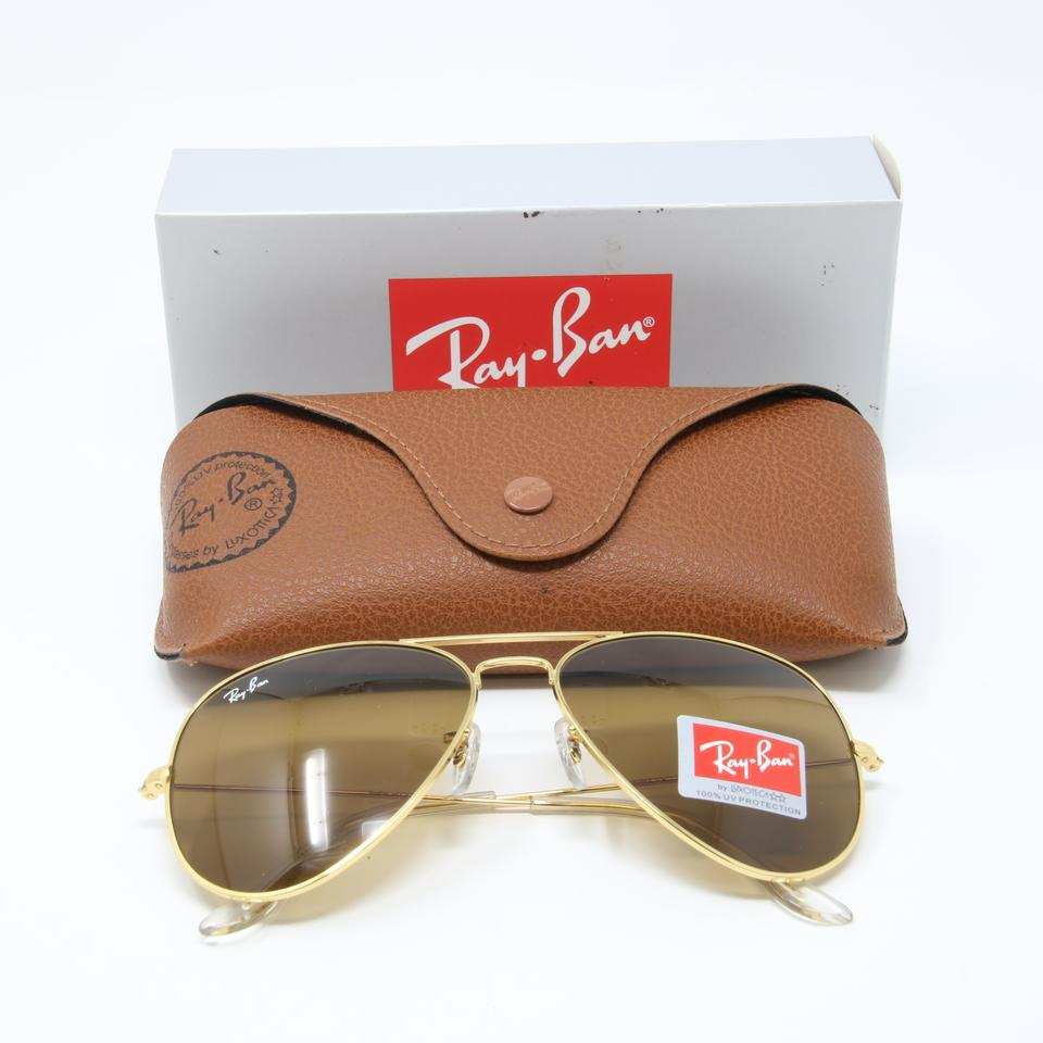 eb1e42603c9 Ray-Ban Signature Aviator RB3026 Gold Frame Brown Gradient Lenses 62mm  Image 5. 123456