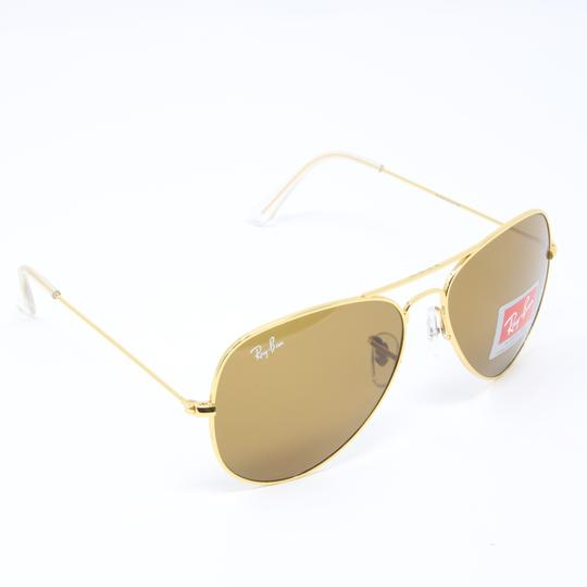 1558782e152 Ray-Ban Signature Aviator RB3026 Gold Frame Brown Gradient Lenses 62mm  Image 3