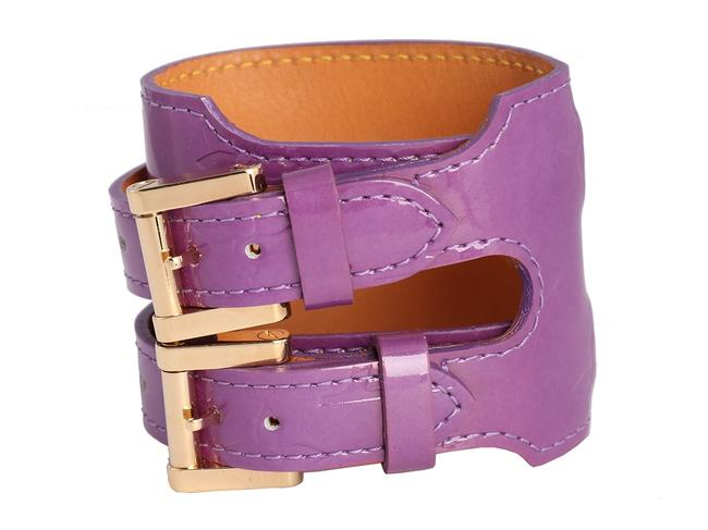 Item - Purple Vernis Leather Double Buckle Cuff Bracelet
