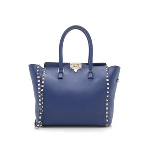Valentino Rockstud Double Handled Leather Tote in Blue