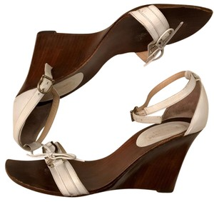 Kate Spade Leather Wedge White Sandals