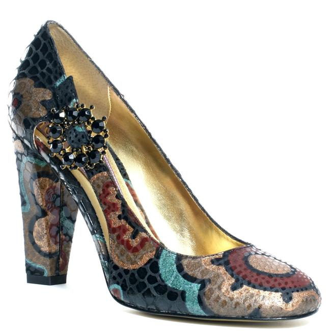 Item - Blue Snake Embossed Jeweled Heels Pumps Size US 8 Regular (M, B)
