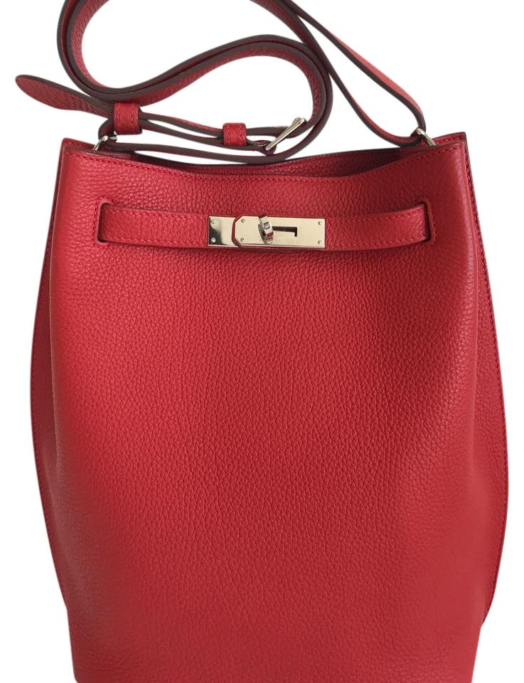 160a8205aa3a Hermès So-Kelly Kelly 22 Red (Geranium) Leather Tote - Tradesy