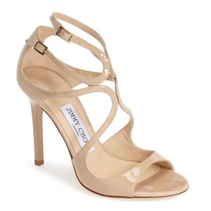 Jimmy Choo Patent Leather Date Night Night Out Comfortable Beige Sandals