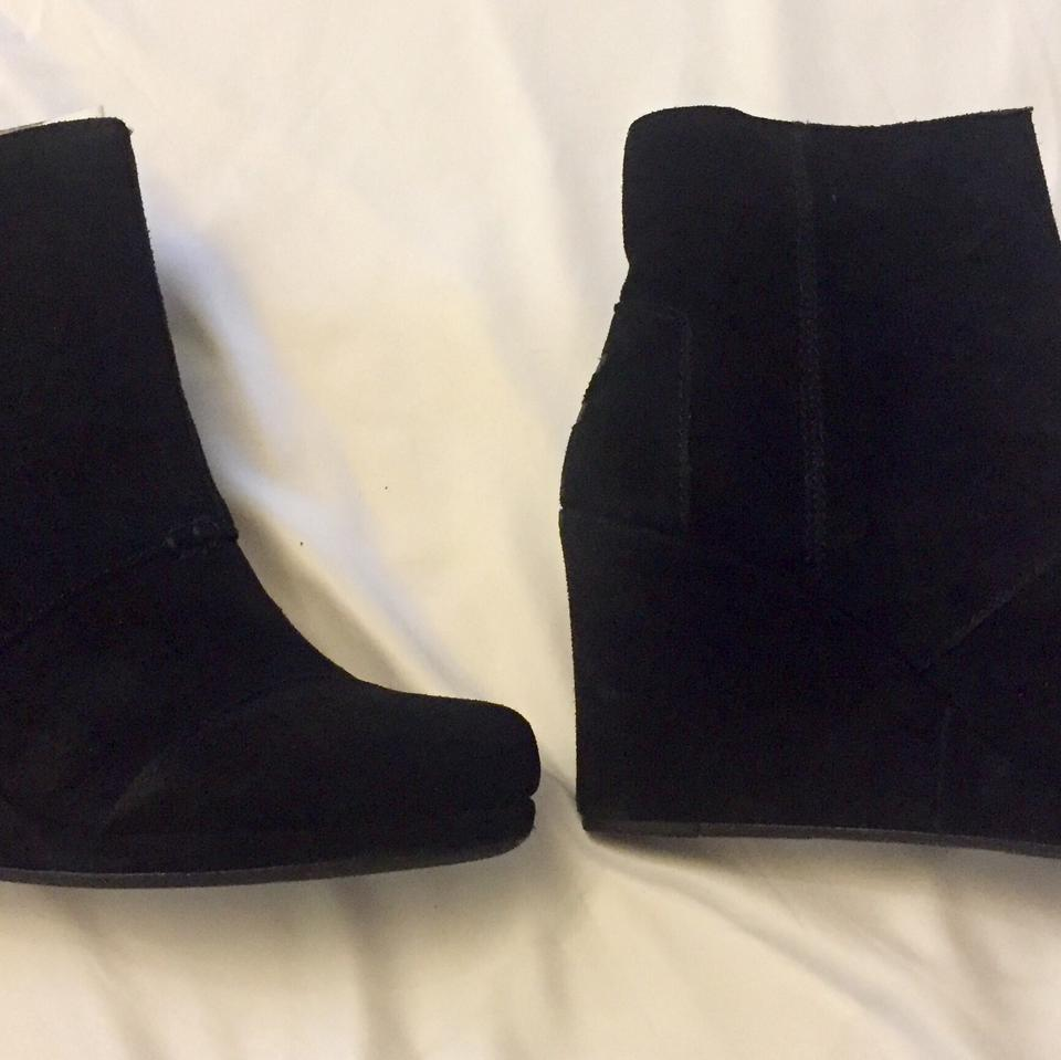 c2e4eb32add TOMS Black Suede Desert Wedge High Boots Booties Size US 8 Regular ...