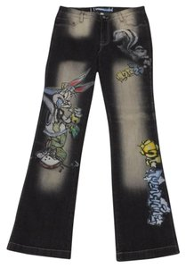 Lot#29 Straight Pants deep grey with multi hand painted