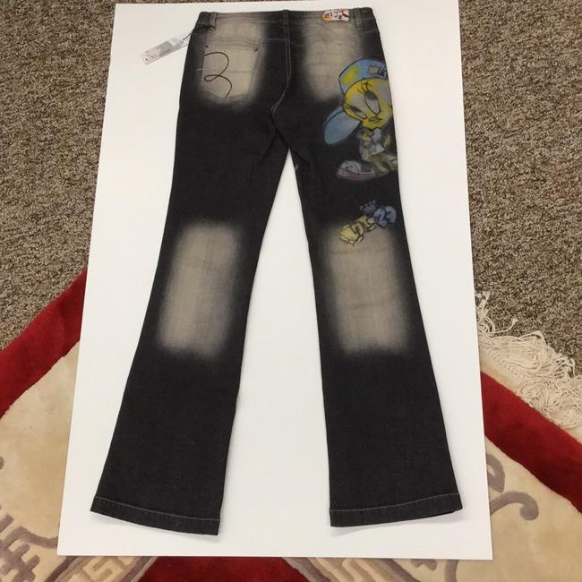Lot#29 Straight Pants deep grey with multi hand painted Image 4