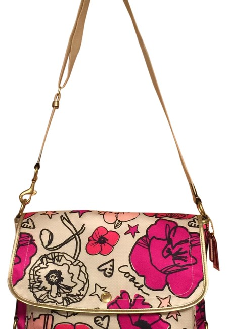 Item - Multi-colors; Pink Cream Black Accent Fabric with Gold Leather Trim and Gold-tone Hardware Laptop Bag